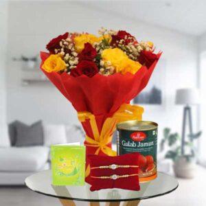 mix roses rakhi and gulab jamun