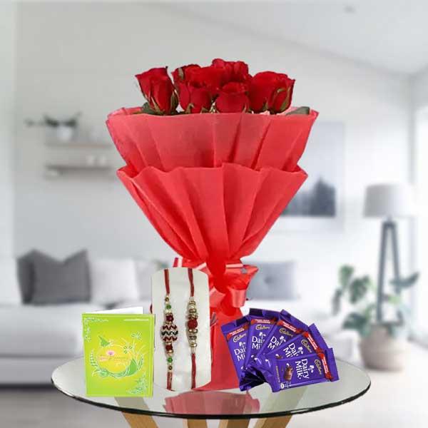 rakhi red roses dairy milk chocolates