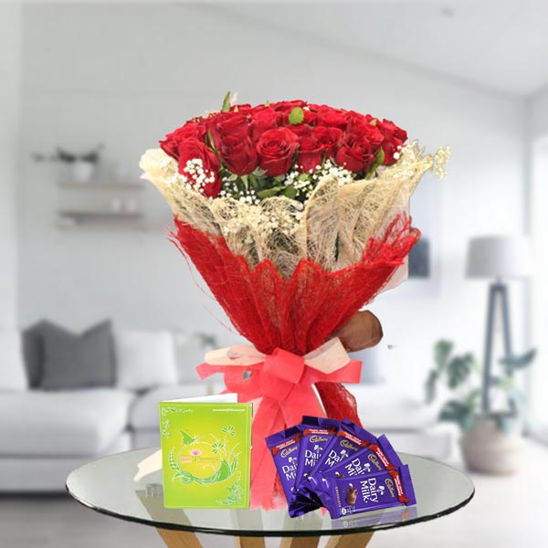 Rose Bouquet and Dairy Milk Chocolates