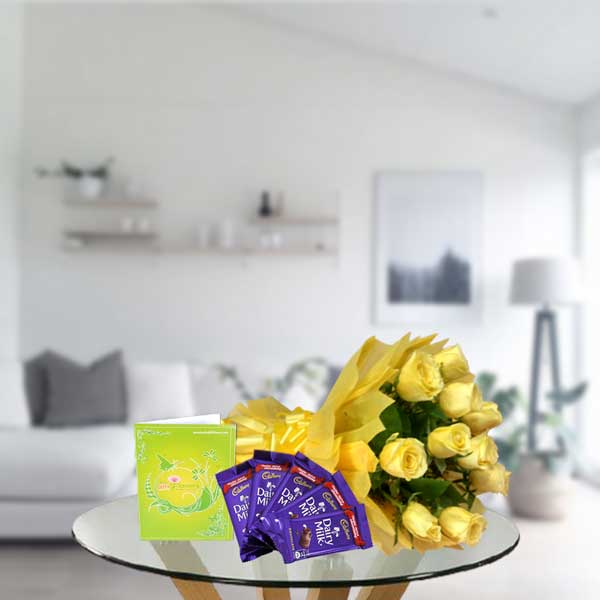 yellow rose bouquet and dairy milk chocolates