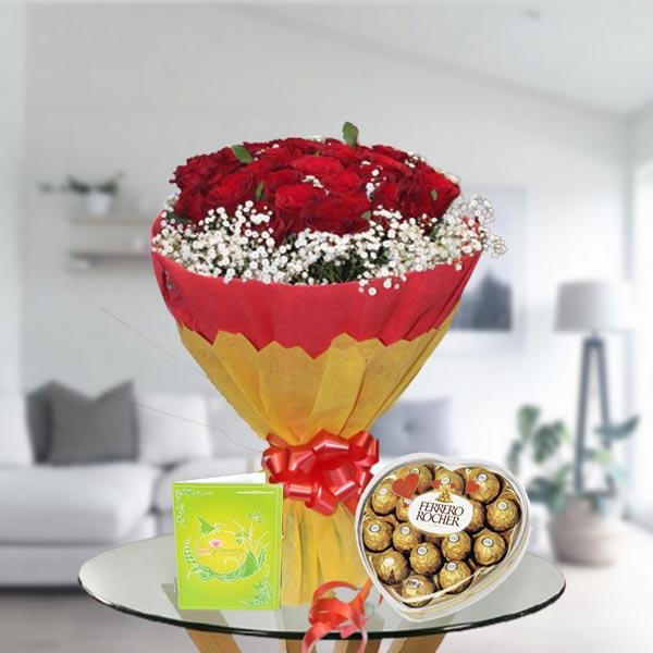 Roses and heart shape ferrero box
