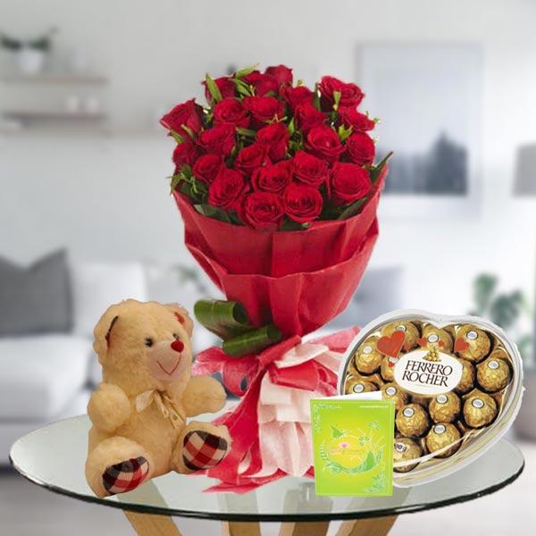 red rose bouquet ferrero teddy