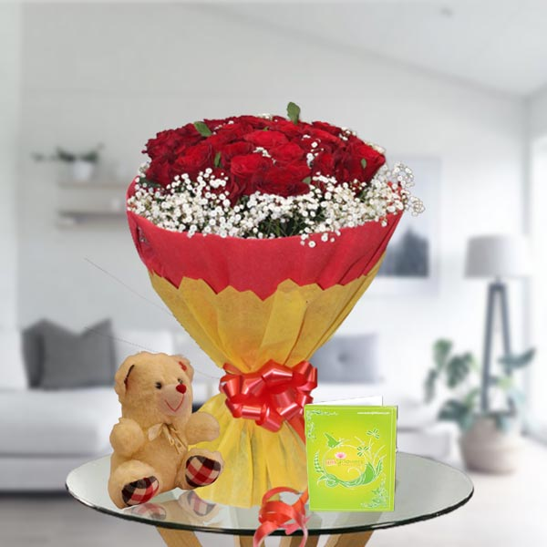 Red Roses Bouquet And Teddy