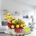 yello carnations bouquet arrangement