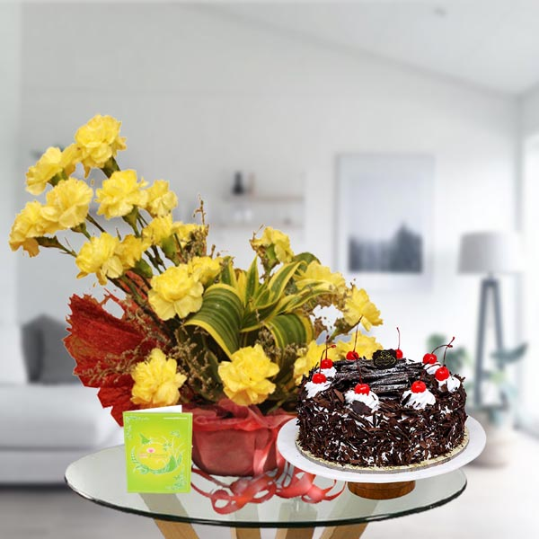 carnations and black forest cake