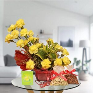 yellow carnations and dry fruit