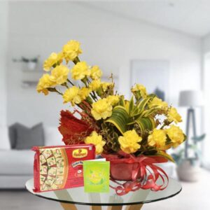 yellow carnations and soan papdi