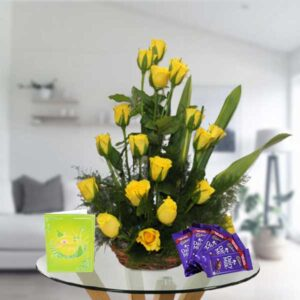 yellow roses basket and dairy milk chocolates