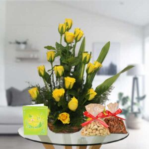 Yellow Rose basket and dry fruits