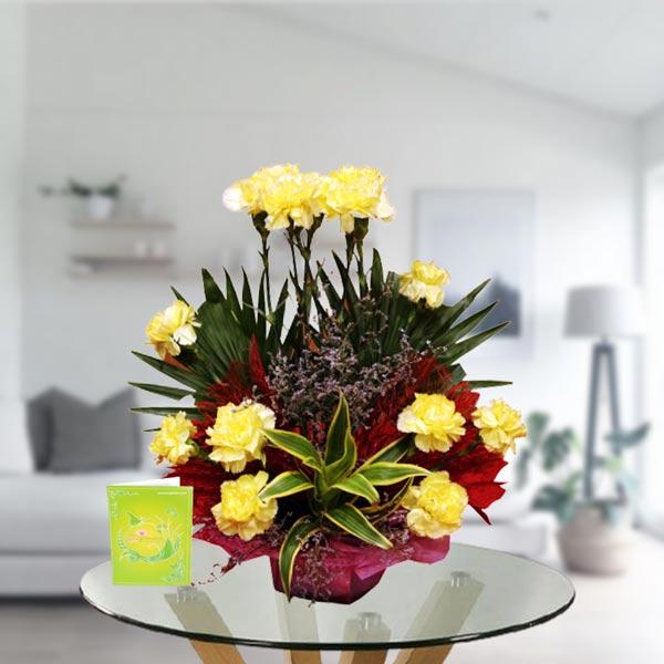 Yellow Carnations Arrangement Bouquet