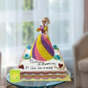 square base doll cake