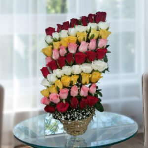 basket of roses with colorful layers of roses