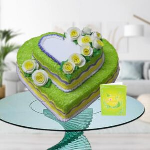 2 tier double heart cake