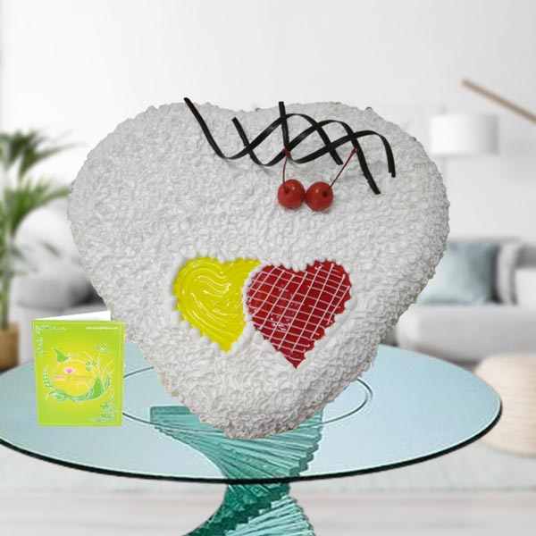 Creamy White Forest Connected Hearts Cake