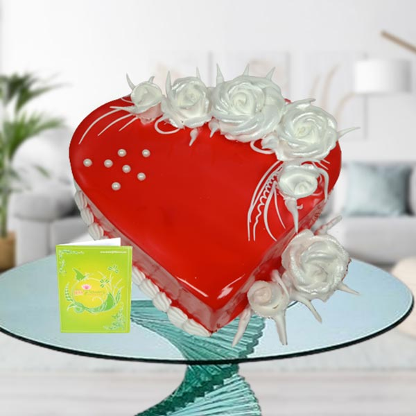 Floral strawberry heart shape cake