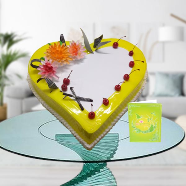 pineapple cream heart cake