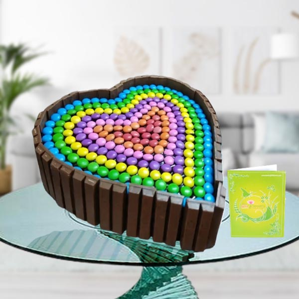 kitkat heart shape cake
